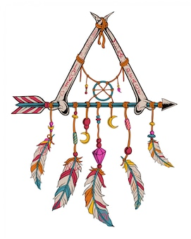 Capteur de rêves avec os et flèche. design vintage de paix et d'amour