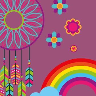 Capteur de rêves plumes fleurs esprit sans arc-en-ciel