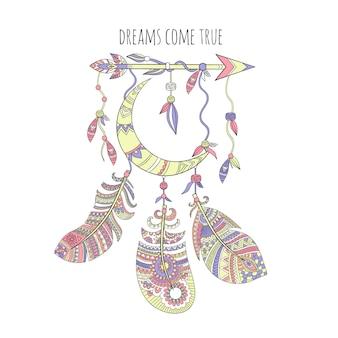 Capteur de rêves, plumes tribales ethniques nativité illustrations d'art indien américain