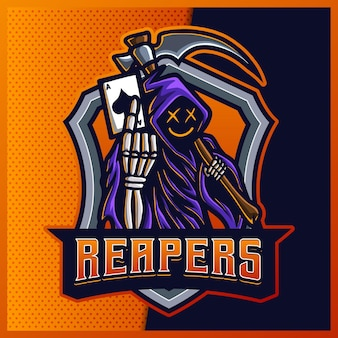 Capuche jack reaper logo mascotte esport couleur lueur