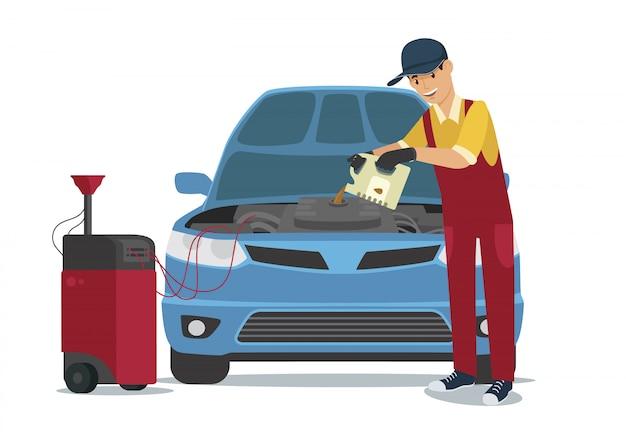 Car service worker verser oil dans une voiture bleue