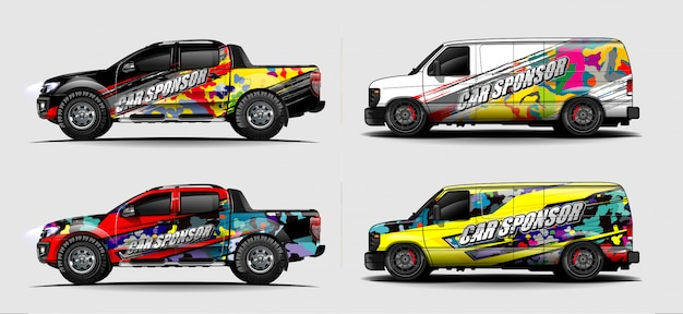 Car wrap graphic racing abstract strip and background for car wrap and vinyl sticker - images vectorielles