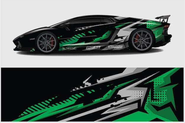 Car wrap graphique abstrait de course pour wrap et vinyle autocollant