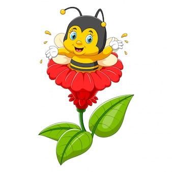Caractère d'abeille sur la fleur