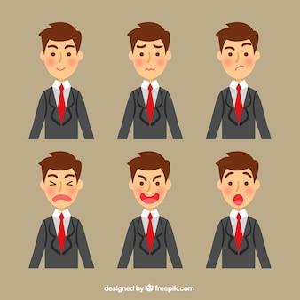 Caractère d'affaires avec plusieurs visages expressifs