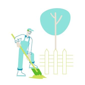 Caractère d'agriculteur en salopette travaillant dans le jardin de creuser du sol