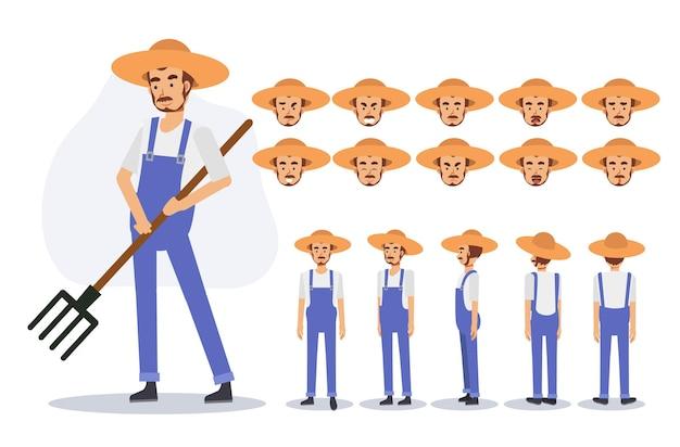 Caractère d'un agriculteur de sexe masculin dans diverses vues, illustration vectorielle plane de personnage de dessin animé 2d.