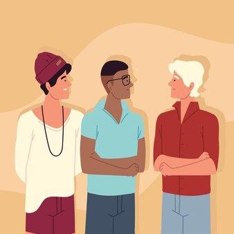 Caractère d'amis de jeunes hommes divers