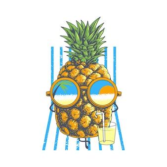 Caractère d'ananas drôle d'été profiter de l'illustration de bronzage