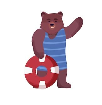 Caractère animal brun, sauveteur ours en maillot de bain, gilet de sauvetage et bouée de sauvetage sur fond blanc.
