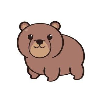 Caractère animal un ours brun debout sur fond blanc caractère plat de vecteur