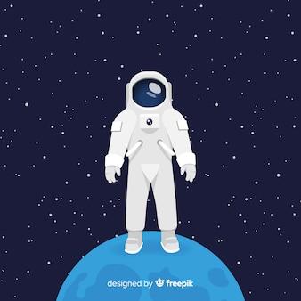 Caractère d'astronaute classique avec un design plat