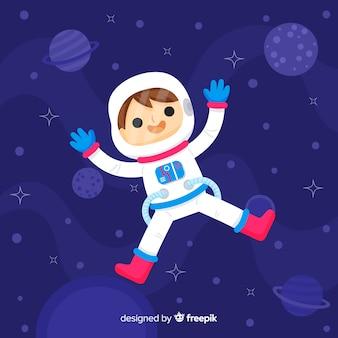 Caractère astronaute dessiné main belle