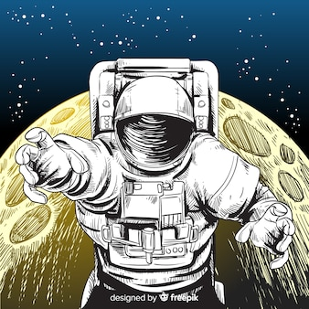 Caractère d'astronaute dessiné main élégante