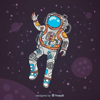Caractère d'astronaute dessiné à la main moderne