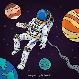Caractère de l'astronaute dessiné à la main