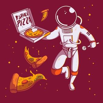 Caractère d'astronaute de livraison de pizza