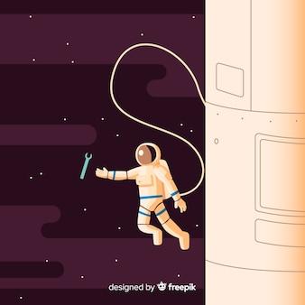 Caractère astronaute moderne avec un design plat