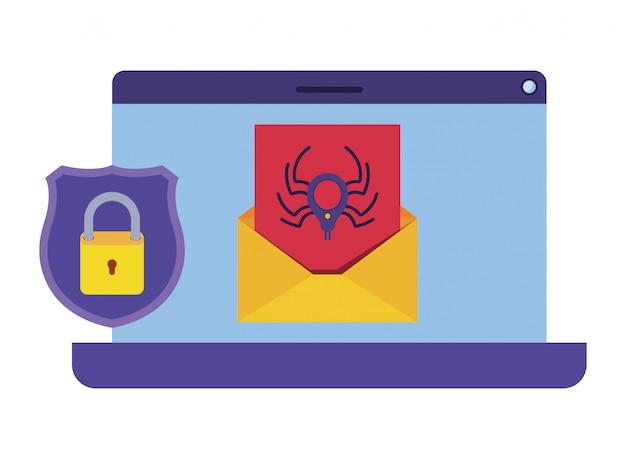 Caractère avatar du scanner de virus latop
