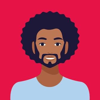 Caractère d'avatar de l'ethnie afro homme.