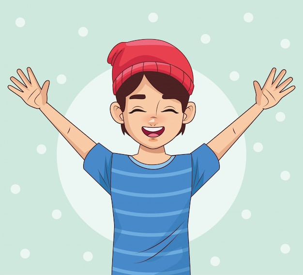 Caractère d'avatar heureux jeune garçon