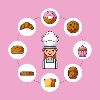 Caractère de baker fille avec croissant de gâteau de pain gâteau donut