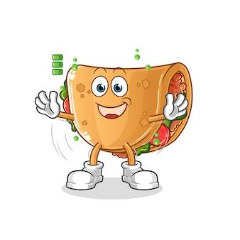 Caractère de batterie pleine de burrito. mascotte de dessin animé