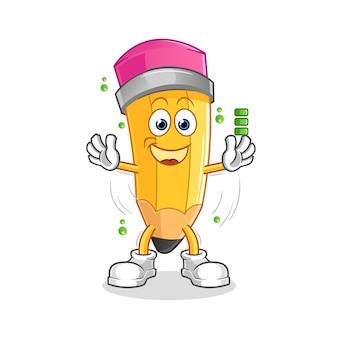 Caractère De Batterie Pleine De Crayon. Mascotte De Dessin Animé Vecteur Premium