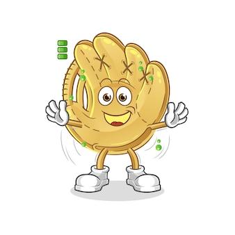 Caractère de batterie pleine de gant de baseball. mascotte de dessin animé