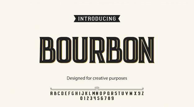 Caractère bourbon. pour les étiquettes et les types différents