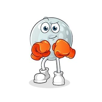 Caractère de boxeur de balle de golf. mascotte de dessin animé
