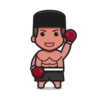Caractère de boxeur mignon avec le gagnant pose dessin animé vecteur icône illustration concept d'icône de sport de boxe