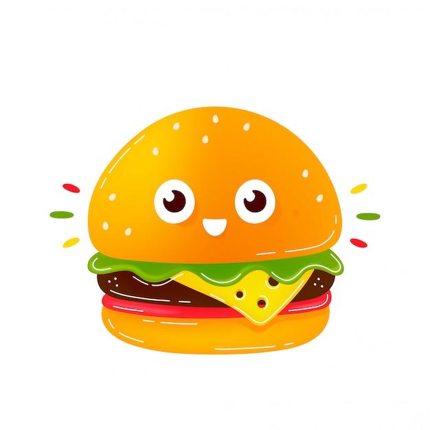Caractère de burger souriant heureux mignon. icône illustration de dessin animé de style plat tendance moderne. isolé sur blanc. burger, personnage de restauration rapide