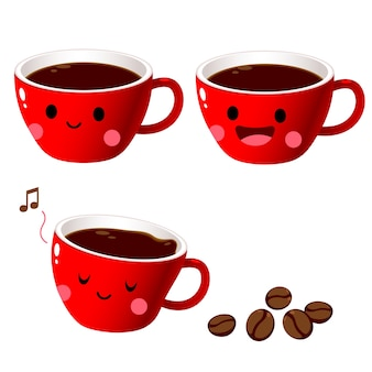 Caractère de café rouge tasse avec des haricots