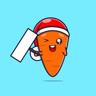 Caractère de carotte mignon avec chapeau de noël