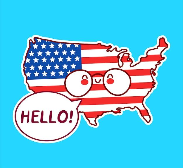 Caractère de carte et drapeau américain drôle heureux mignon