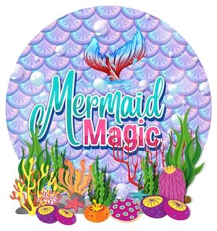 Caractère de carton de belle sirène avec bannière d'écailles pastel vierge isolée