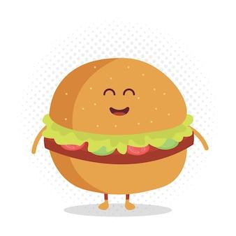 Caractère de carton de menu de restaurant d'enfants. modèle pour vos projets, sites web, invitations. burger mignon drôle dessiné avec un sourire, des yeux et des mains.