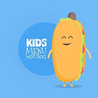 Caractère de carton de menu de restaurant d'enfants. modèle pour vos projets, sites web, invitations. hot dog mignon drôle dessiné avec un sourire, des yeux et des mains.