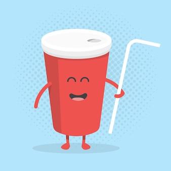 Caractère de carton de menu de restaurant d'enfants. modèle pour vos projets, sites web, invitations. tasse de cola mignonne et amusante dessinée avec un sourire, des yeux et des mains.