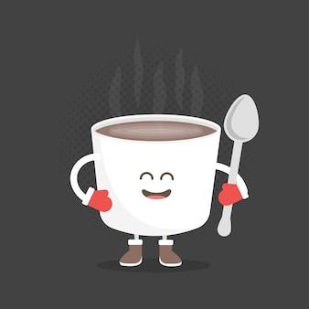 Caractère de carton de menu de restaurant d'enfants. style d'hiver de noël et du nouvel an. café de tasse mignon drôle dessiné avec un sourire, des yeux et des mains. vêtu d'un bonnet de noel et de gants chauds.