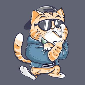 Caractère de chat de mauvais garçon à l'aide d'une veste et d'un chapeau à l'arrière avec de la fumée et de la bière