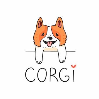Caractère de chien corgi mignon regardant par derrière un obstacle avec texte vector illustration