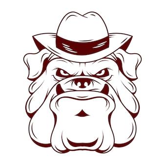 Caractère de chien de mafia avec chapeau