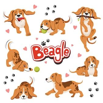 Caractère de chien de mouvement drôle dans différentes poses dynamiques. assis et secouant animal