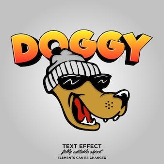 Caractère de chien avec style de texte
