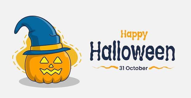 Caractère de citrouille avec illustration d'icône de salutations d'halloween
