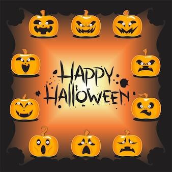 Caractère de citrouilles d'halloween heureux