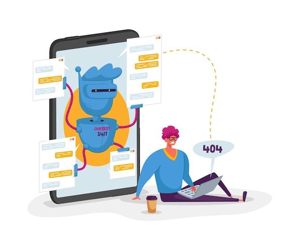 Caractère client avec erreur 404 sur un ordinateur portable discutant avec ai robot chatbot