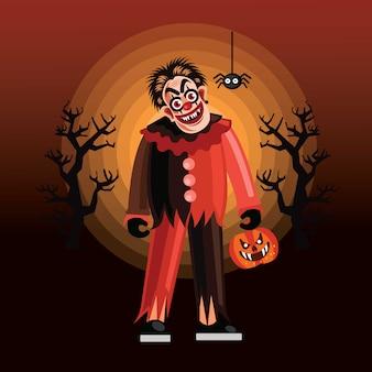 Caractère de clown maléfique d'halloween